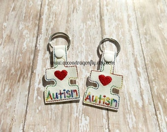CLEARANCE Autism Puzzle Piece Key Fob, Bag Tag, Zipper Pull