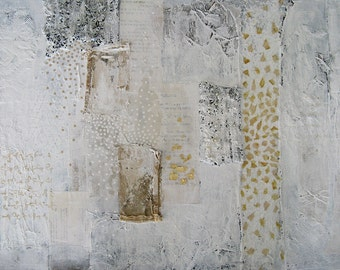 large abstract white painting.  mixed media on canvas.  there is no chain this love can't break.