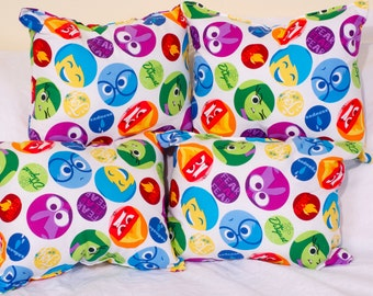 "Inside,Out,Pillows,Girls, Boys,Gift,Joy,Autism,Movie,Circles,faces, Handmade, Birthday, Kids, Reading, Fun Size  8""×8"""