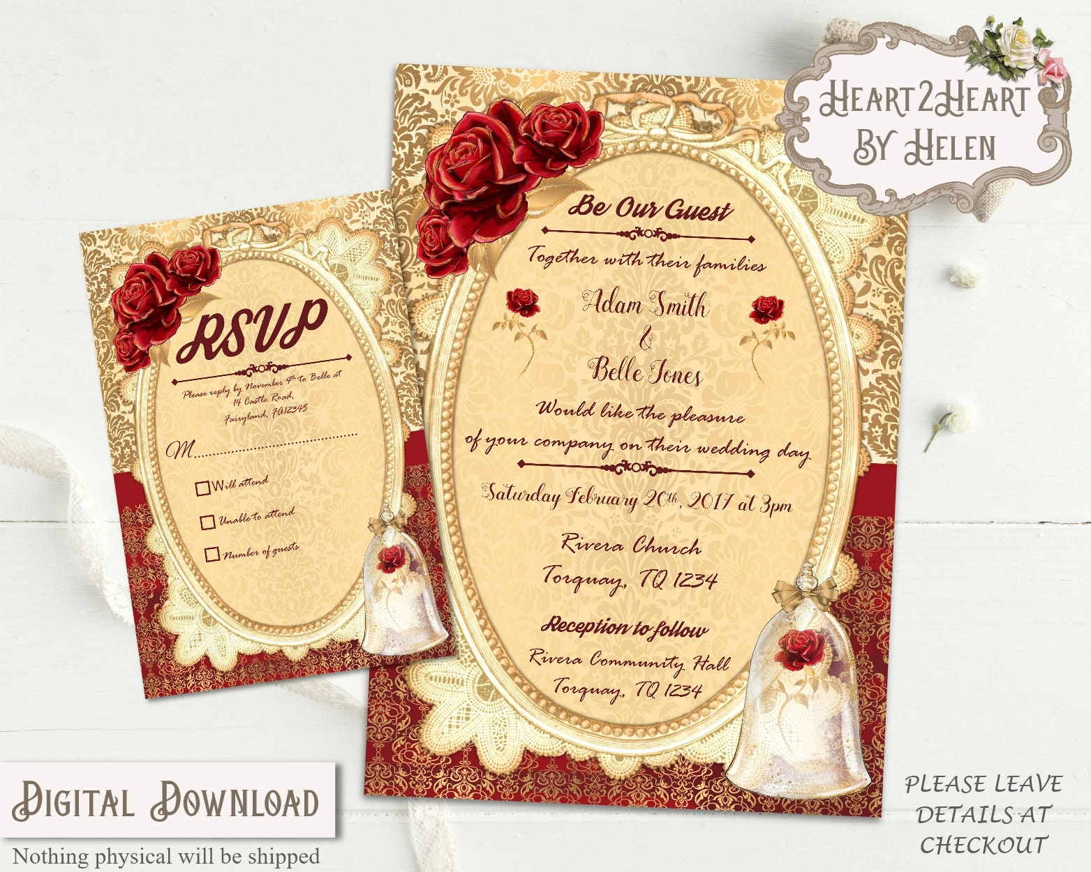 Beauty and the Beast Wedding Invitations Wedding Invite Red