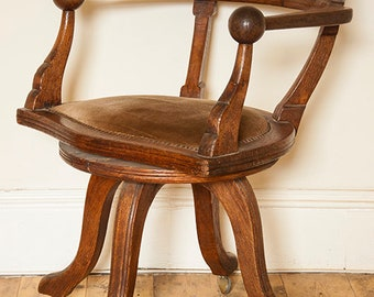 Antique Circa 1890 Oak Captains Desk Swivel Chair - COLLECTION ONLY