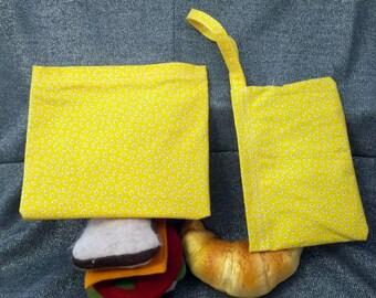 Reusable Sandwich N Snack Bag Set,  Bugs on Yellow Print