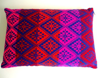Handmade Knitted Pillow Cover Orange Pink Blue Red