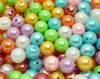 10mm Pearlized Bubblegum Beads - 20pcs - Candy Color Gumball Beads, Chunky Beads, Round Acrylic Beads - BR2-19