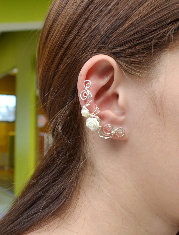 Bridal earcuff wedding earcuffs earrings rose ear climber description bridal earcuff baditri Choice Image