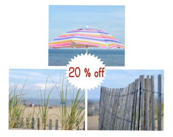 Beach print set of 3 coastal photography prints, umbrella fence wall art, blue grey pink baby girl room bedroom decor sea shore pictures