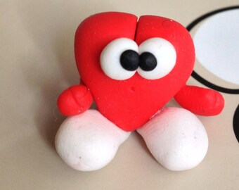 Mr Heart  (Signor Cuoricino) - A Little Polymer Clay Creation - No1
