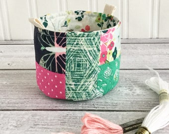 Small Fabric Bucket Colorful Floral Scrap Bag Fabric Bag Floral Print