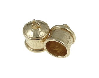Kumihimo Cord End Caps - 2 Brass Plated Large14mm x 12mm Fancy End Caps (KH20)