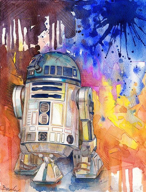 R2D2 Star Wars de pintura acuarela acuarela imprimir Star Wars