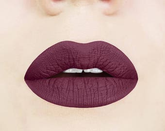 Black Cherry Liquid Lipstick. Plum. Dark. Maroon. Glossy to Matte. Makeup. Cosmetics. Vegan. Cruelty-free. Liquid to Matte.  Vampy. Lips.