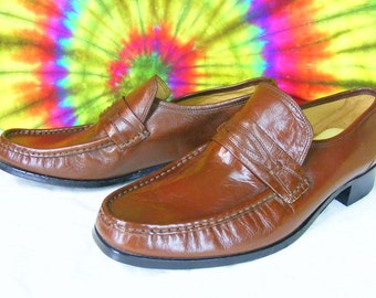 9.5 M mens vintage 80's brown leather STACY ADAMS penny loafers shoes NOS
