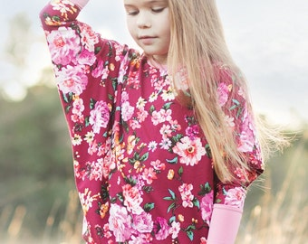Girls Dreamy Drape Top PDF Sewing Pattern - Newborn to 12 yrs - diagonal hem or waistband option, three sleeve options