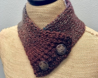 Hand Knitted Buttoned Neck Warmer in Lion Tweed Stripes Woodland  Item# KNW101707 ***FREE SHIPPING***