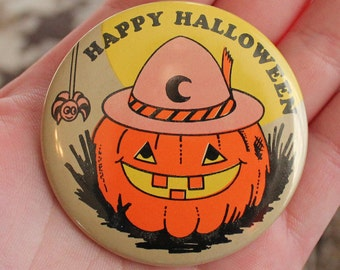 Vintage Jack-O-Lantern Happy Halloween Pin- Back Button - Russ- 1979