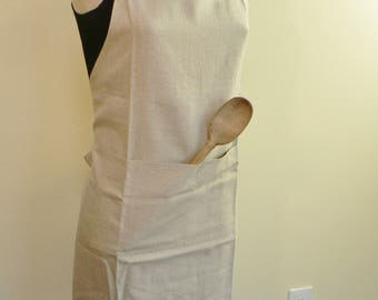 Linen Apron, Up-cycled apron, eco- friendy, linen bakers apron with pockets, , bakers apron, artists apron, gift for her, cooks apron