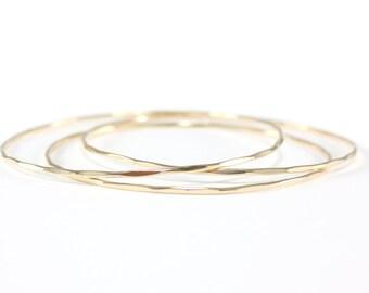 skinny gold bangle set | gold three bangle set | hammered gold bangles | everyday bracelets