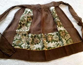 1950s Apron, Chocolate Brown Organza, Cotton Floral Print Trim, Pockets, Hostess Mid Century Serving