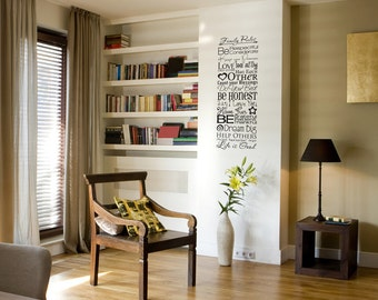 Family Rules - Quote - Saying - Words - Wall Decals - Your Choice of Color