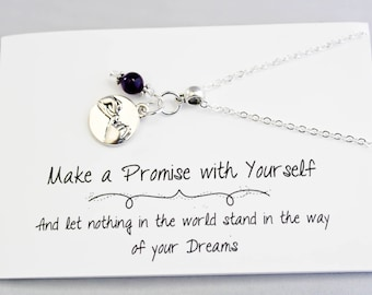Charm Necklace - Pinky Swear Charm Necklace - Mantra Life Your Dreams Necklace - Friendship Necklace -SCC891