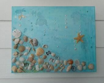 Handmade canvas framed sea shell art / beach decor / nautical decor
