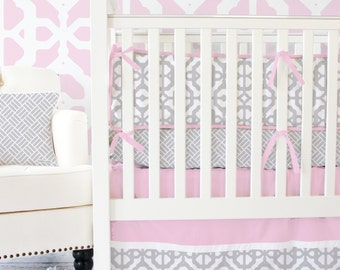 15% OFF SALE- Pink and Gray Mod Lattice Designer Baby Bedding | 2 or 3 pc Modern Girl Crib Set
