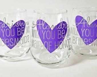 Will you be my bridesmaid, Will you be my maid of honor, Bridesmaid Proposal, Asking Bridesmaids, Will you be my bridesmaid wine glass