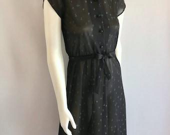 Vintage Women's 40's/70's Black, Sheer, Dress, Split Sleeve (XS)