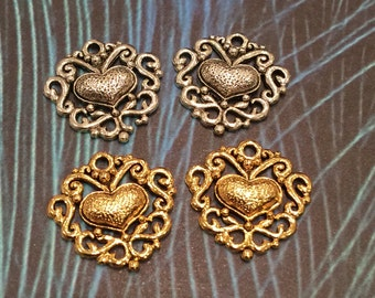 Gold and Silver Filagree Heart Charm - 4 pieces-(Antique Gold Finish)-