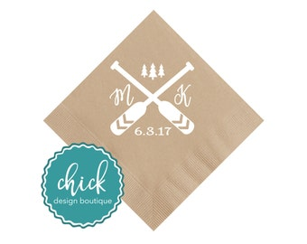 Couple's Initials & Oars Beverage Napkins Wedding Decor Fun Wedding Party Gifts Wedding Anniversary Party Gifts Custom Beverage 3D389B Sand