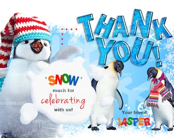 Winter Wonderland Thank you Card,  Penguin Thank you Note, Snow and Icicles Party