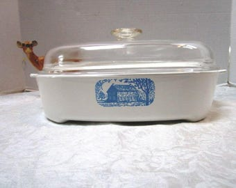 Vintage Corning Ware Classic Colonial Blue House Pattern, Microwave Brown and Serve, Practical Sunday Dinner Casserole, French Country Pyrex