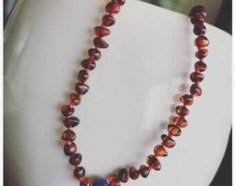 Lapis Lazuli Amber Teething Necklace