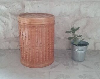 Box Vintage round woven natural fiber, Bohemian, natural and pure spirit