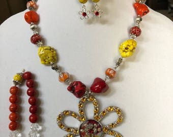 Red, Yellow, and Orange Necklace, Bracelet, and Earrings Set