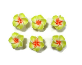 15 mm Polymer Clay Plumeria Flowers Set of 6 (SP5)