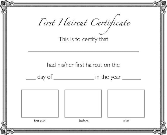 First Haircut Certificate / INSTANT DOWNLOAD