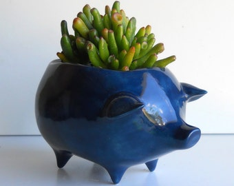 Pig Planter Ceramic Vintage Design in Navy Blue Succulent Planter Retro Birthday Gift Sponge Holder Cactus pot Navy Blue Room Decor Flower