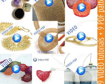 GIANT Crochet jewelry video patterns combination package - Instant digital download - PDF patterns step by step jewelry instructions