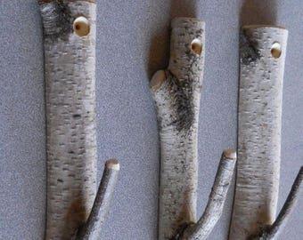 Set of 3 Birch Branch Hooks