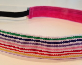 Non-Slip Headband - Multicolor and White Stripes Ribbon - THIN size - rainbow headband