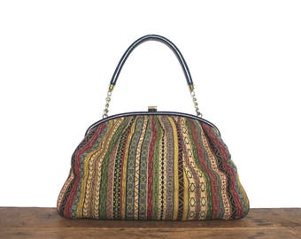 1950s multi-colored striped Handbag - vintage Kelly Bag, classic designer RONAY, Bohemian Mod & Chic