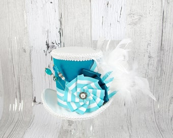 Teal and White Striped Cockade Large Mini Top Hat Fascinator, Alice in Wonderland, Mad Hatter Tea Party, Derby Hat