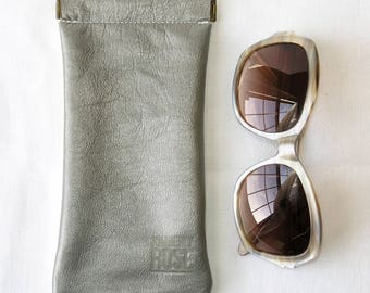 Repurposed Leather Glasses Case / Upcycled Leather Glasses Case / Silver and White Pinch Frame glasses pouch