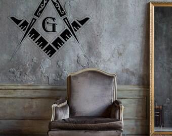 Vinyl Decal Masonic Square Freemasons Compass Best Seller Vinyl Decor caz1158