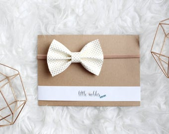 Cream and gold polka dot faux leather Ainsley Bow  -  headband or clip | gold bow | leather headband | gold polka dot bow | hair bow |