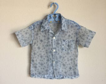 Vintage 50s Nylon Top 1950s Toddler Boys Sheer Quilted Nylon Blue Atomic Novelty Print Party Easter Shirt MidCentury 24 Months 2