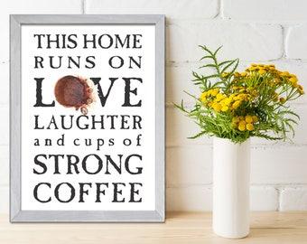 Kitchen Wall Art, Coffee Art, Coffee Print, Typography Poster, Typographic Print, Coffee Quote, Wall Print, Quote Art Print, Wall Decor