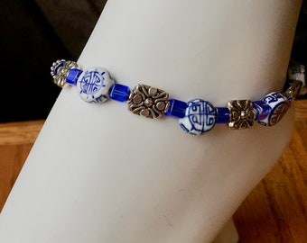 Beaded Anklet, Blue Ceramic Beads with Oriental Motif, Floral Spacers and Blue Rainbow Cube Beads, Adjustable, Plus size Option, Pretty!