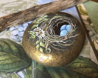 Hand Painted Rock, Painted Bird Nest, Rock Art, Paperweight, Painted Blue Eggs